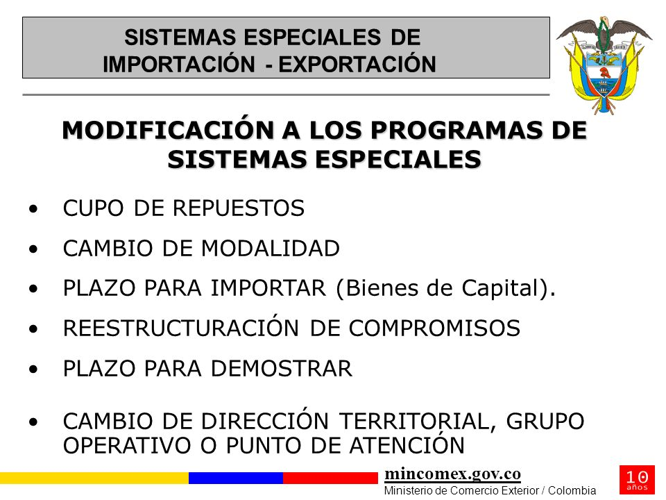 MODIFICACIÓN A LOS PROGRAMAS DE SISTEMAS ESPECIALES