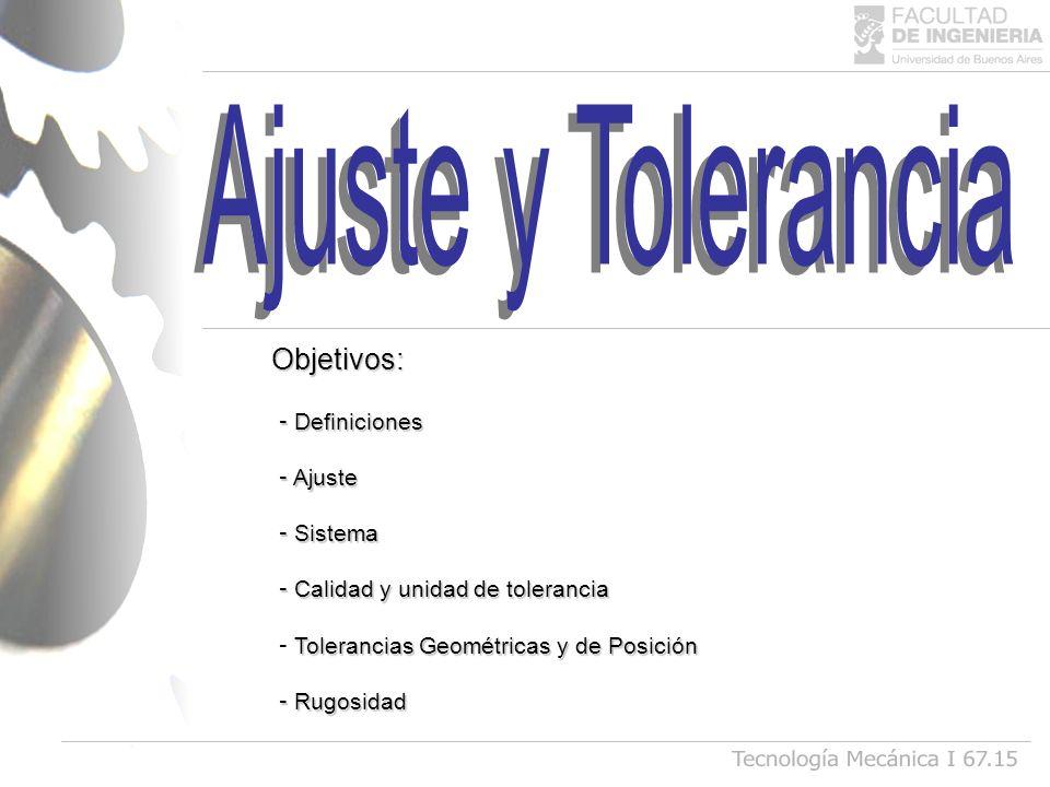 Ajuste y Tolerancia Tecnología Mecánica I 67.15 Objetivos: