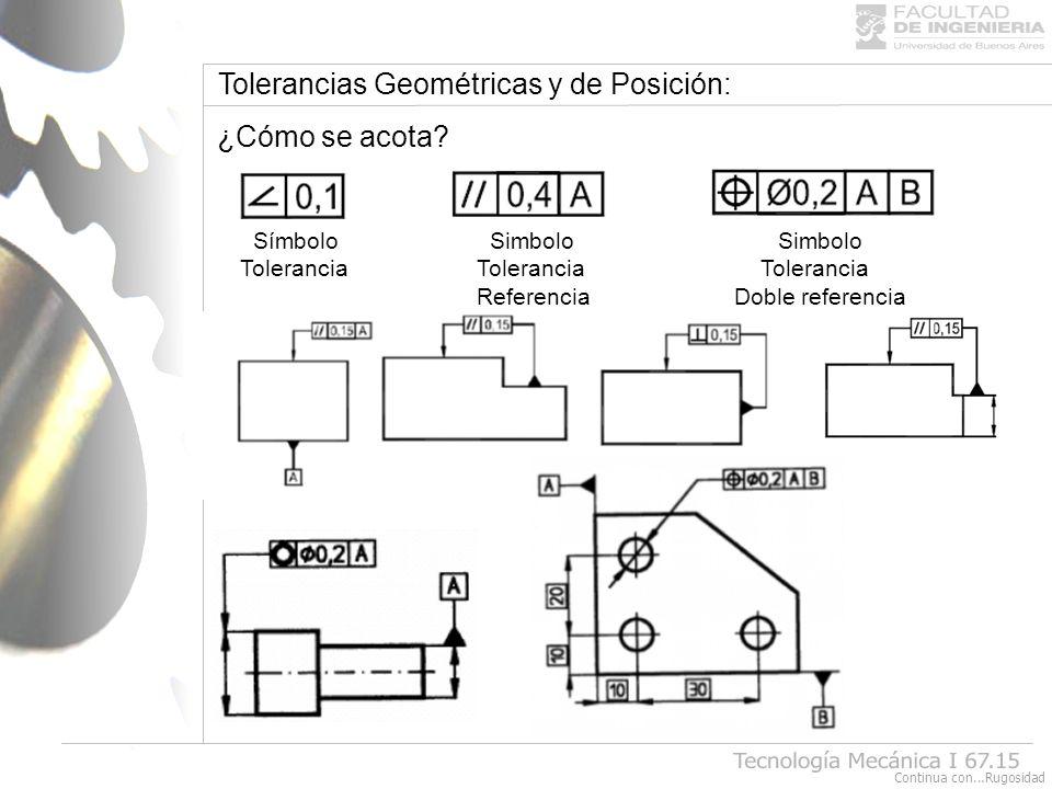 Tecnología Mecánica I 67.15 Tolerancias Geométricas y de Posición: