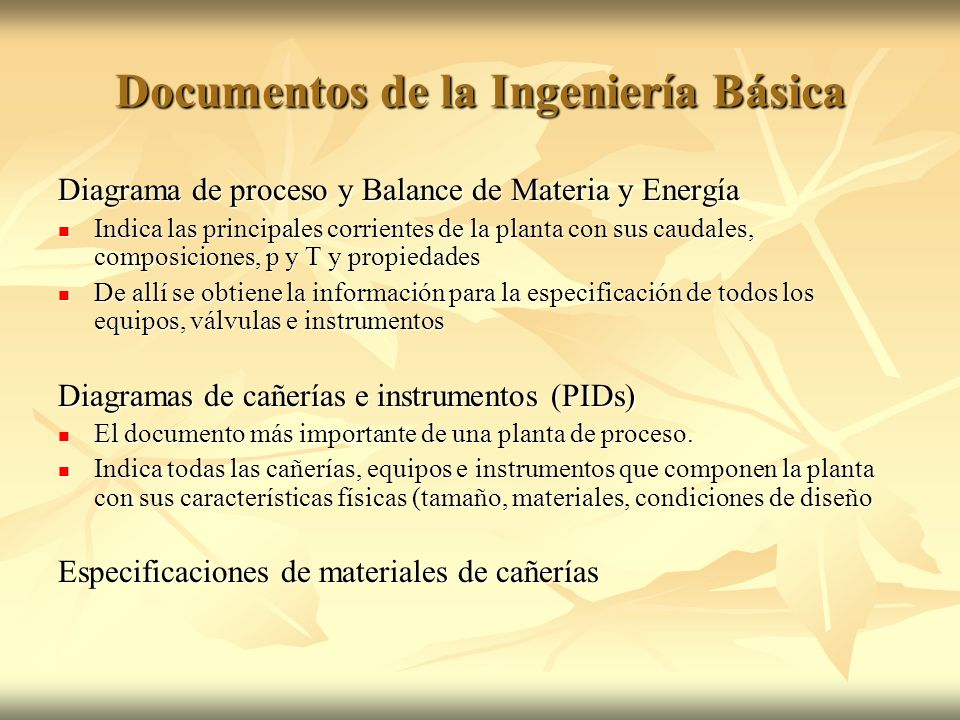 Documentos de la Ingeniería Básica