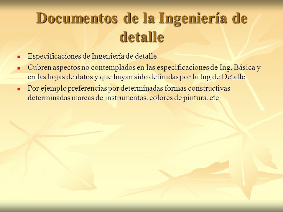 Documentos de la Ingeniería de detalle