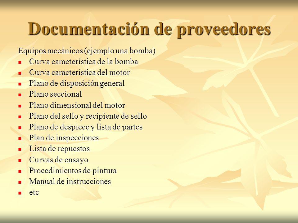 Documentación de proveedores