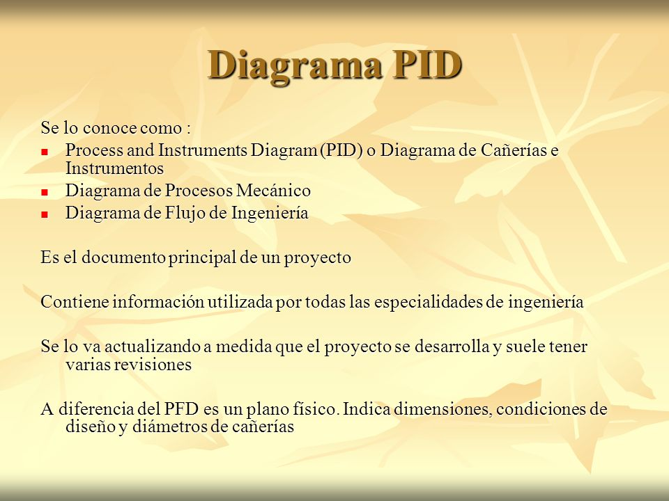 Diagrama PID Se lo conoce como :