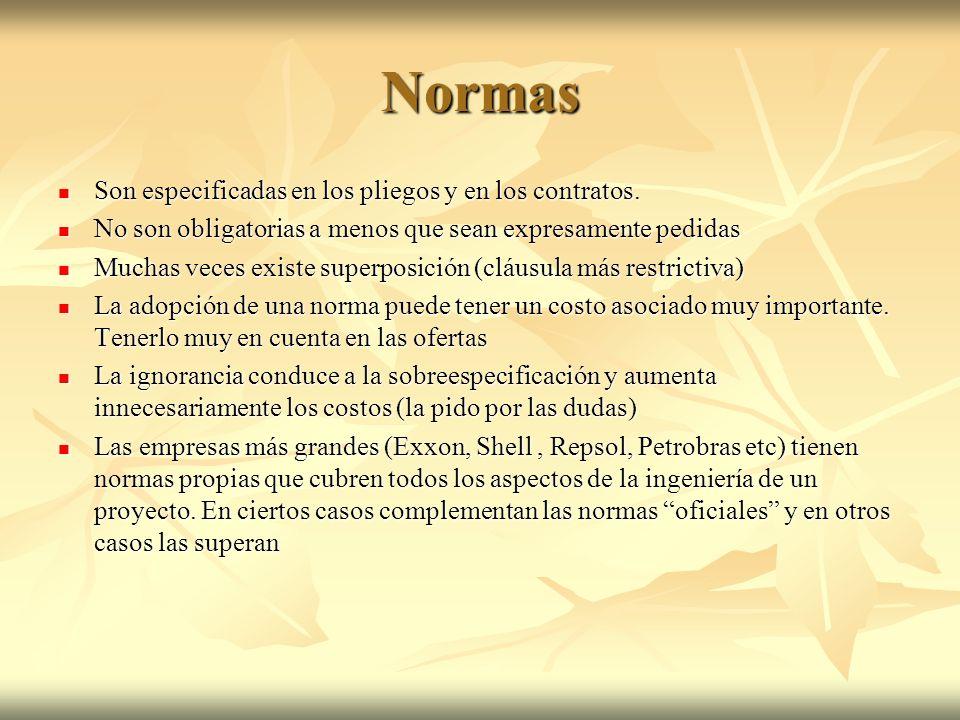 Normas Son especificadas en los pliegos y en los contratos.