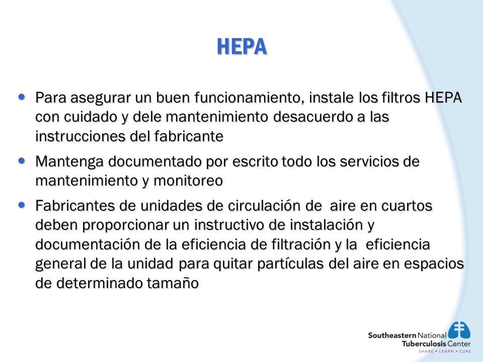 HEPA Para asegurar un buen funcionamiento, instale los filtros HEPA con cuidado y dele mantenimiento desacuerdo a las instrucciones del fabricante.