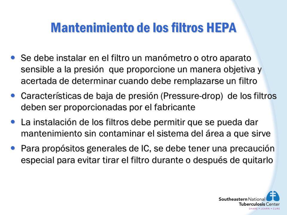 Mantenimiento de los filtros HEPA