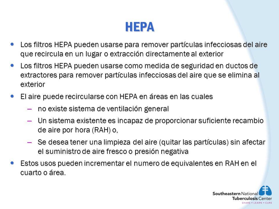 HEPA Los filtros HEPA pueden usarse para remover partículas infecciosas del aire que recircula en un lugar o extracción directamente al exterior.