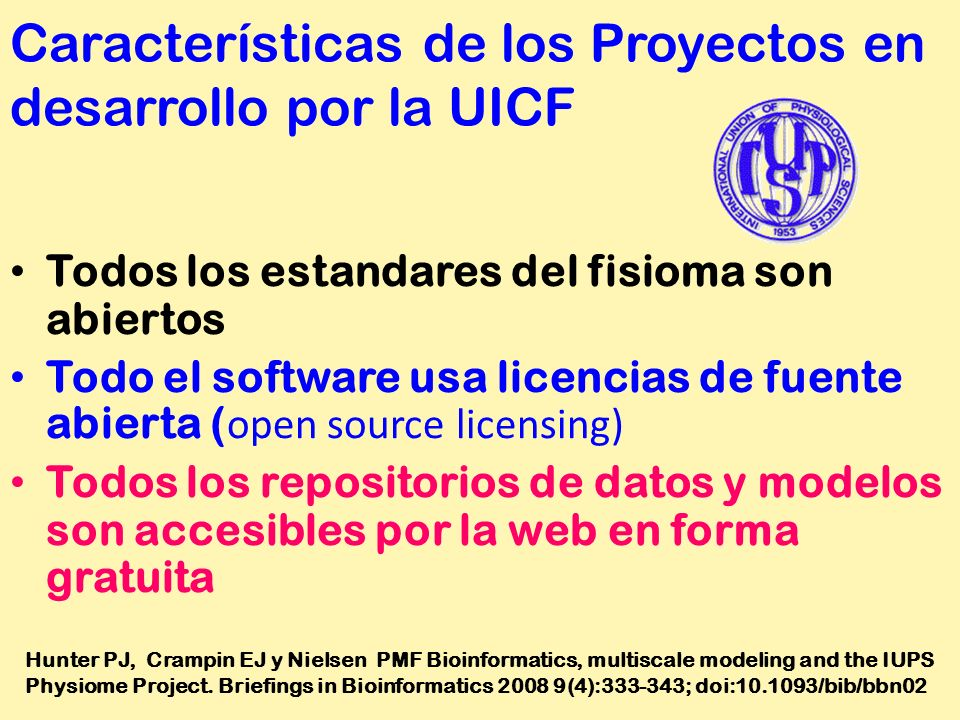 Características de los Proyectos en desarrollo por la UICF