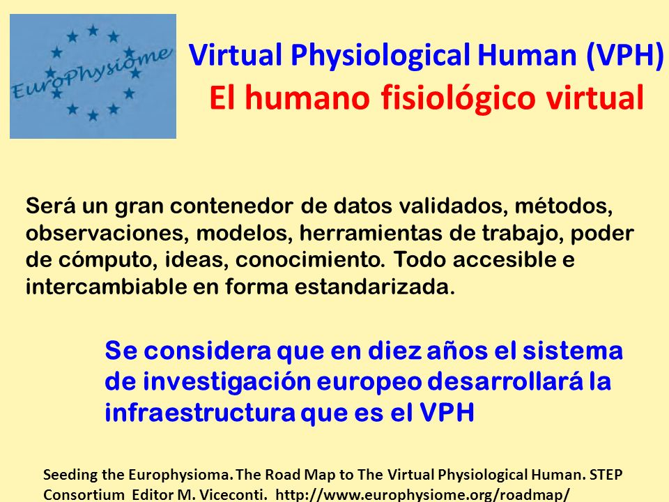 Virtual Physiological Human (VPH) El humano fisiológico virtual