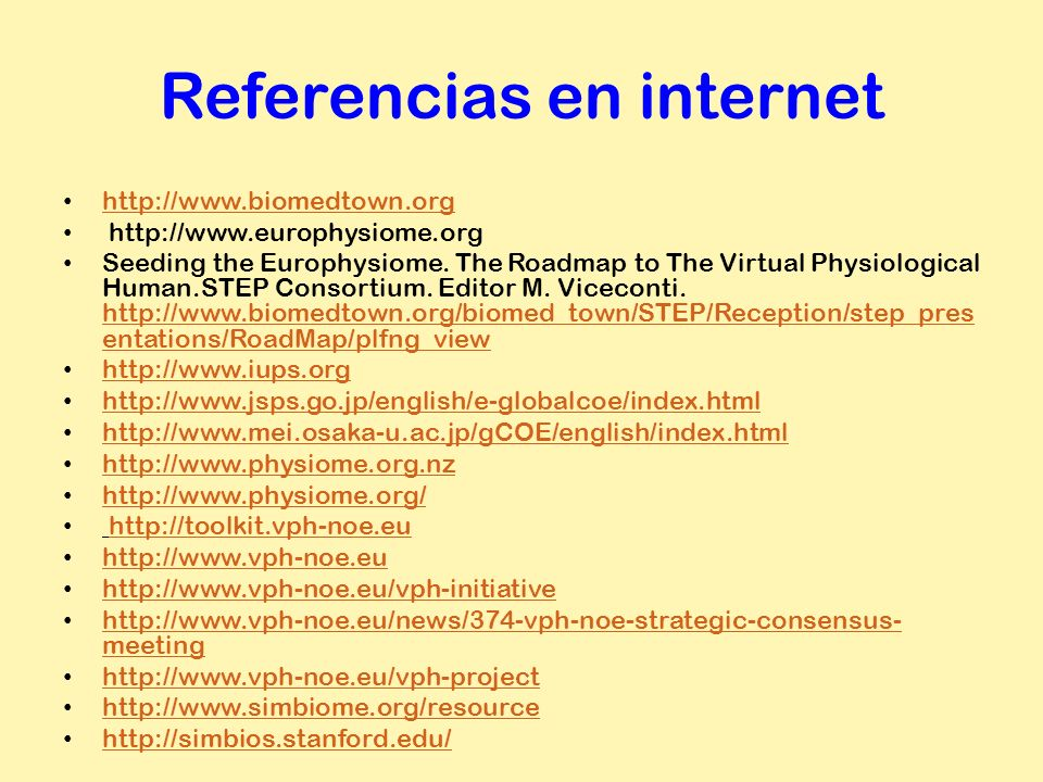 Referencias en internet