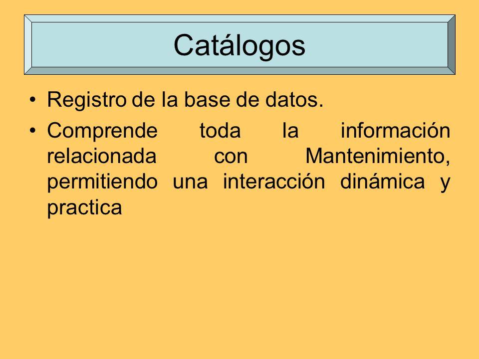 Catálogos Registro de la base de datos.