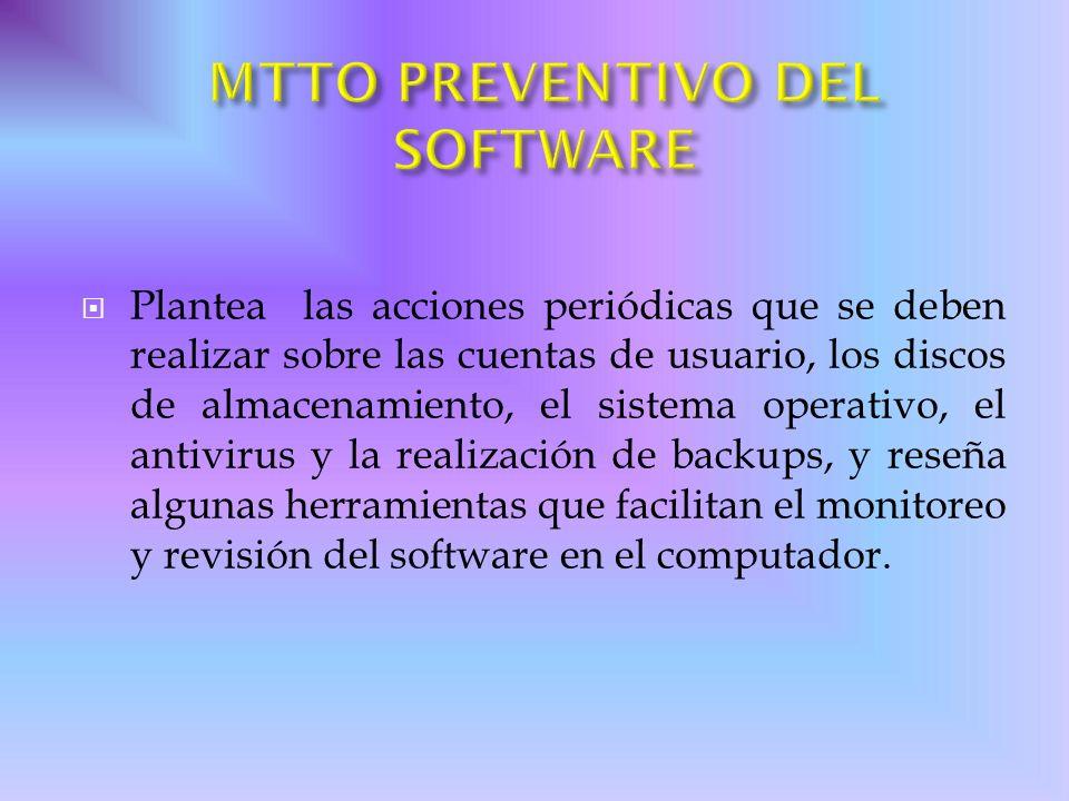 MTTO PREVENTIVO DEL SOFTWARE