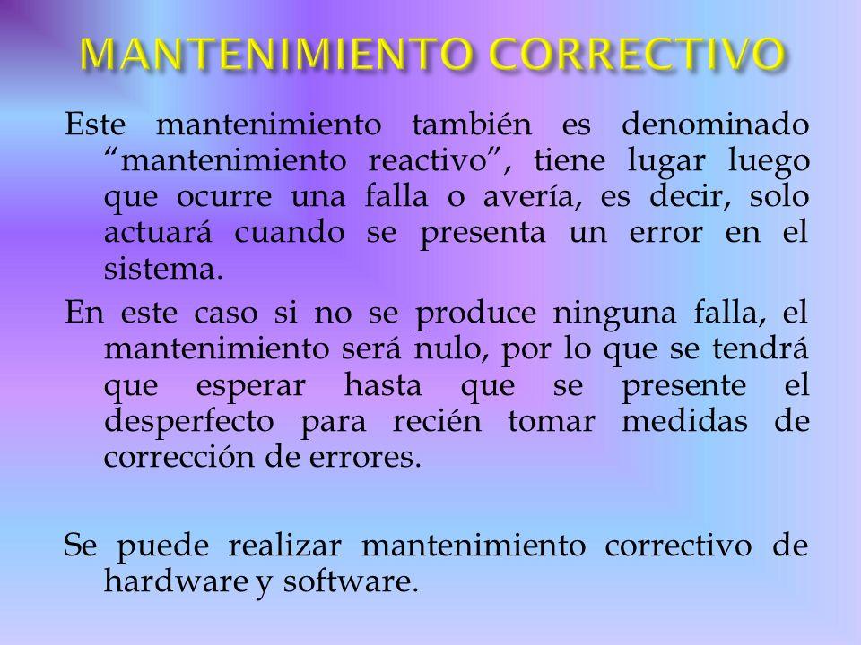 MANTENIMIENTO CORRECTIVO