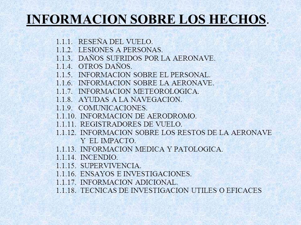 INFORMACION SOBRE LOS HECHOS.