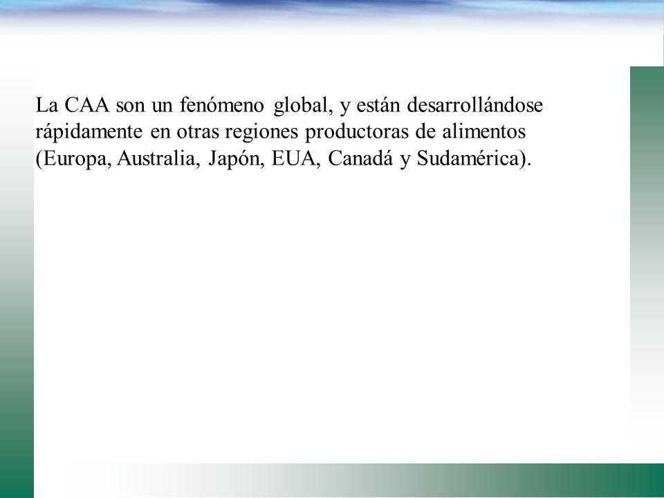 La CAA son un fenómeno global, y están desarrollándose rápidamente en otras regiones productoras de alimentos (Europa, Australia, Japón, EUA, Canadá y Sudamérica).