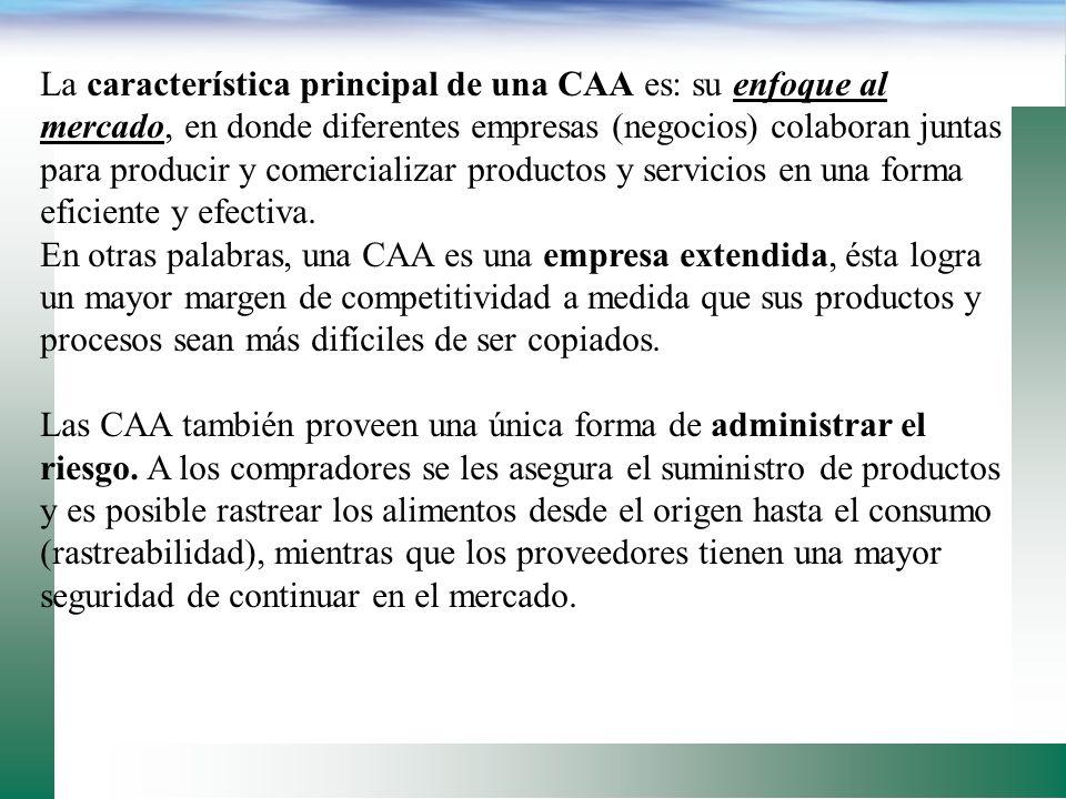 La característica principal de una CAA es: su enfoque al mercado, en donde diferentes empresas (negocios) colaboran juntas para producir y comercializar productos y servicios en una forma eficiente y efectiva.
