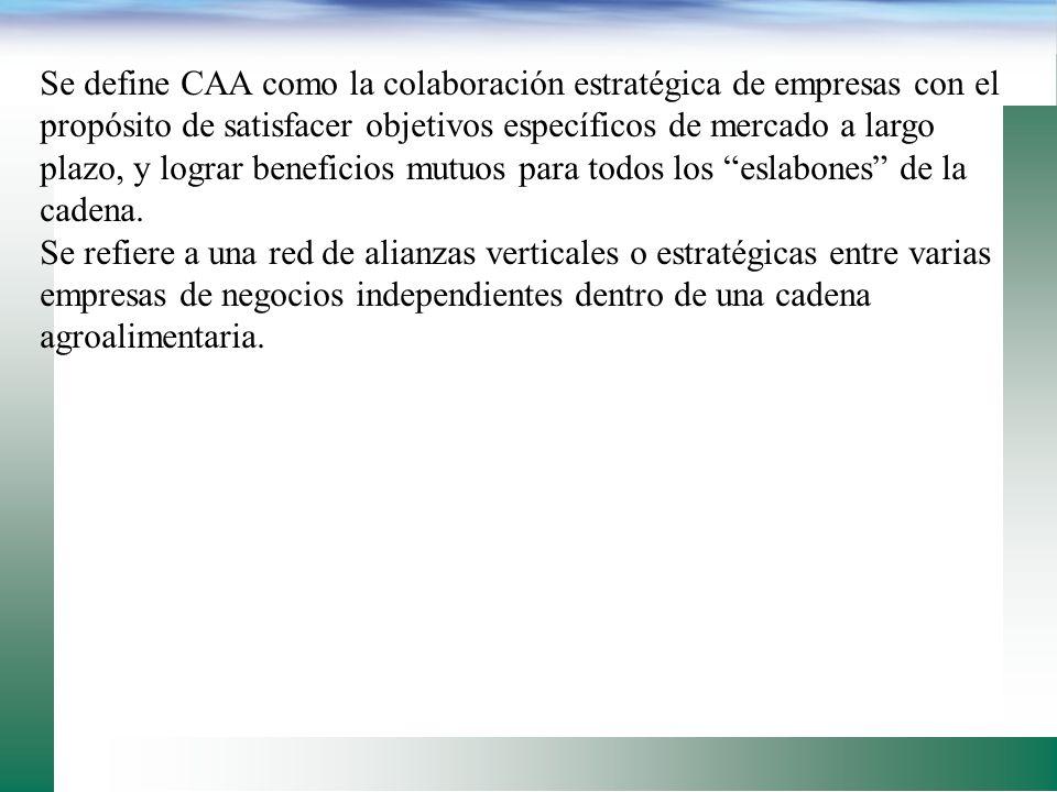 Se define CAA como la colaboración estratégica de empresas con el propósito de satisfacer objetivos específicos de mercado a largo plazo, y lograr beneficios mutuos para todos los eslabones de la cadena.