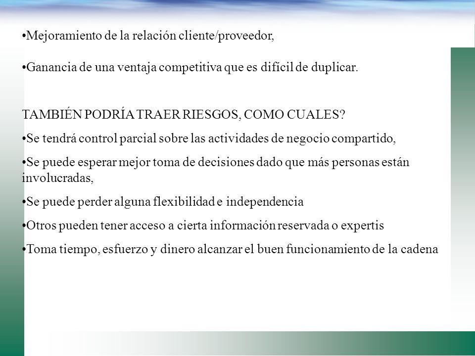 Mejoramiento de la relación cliente/proveedor,