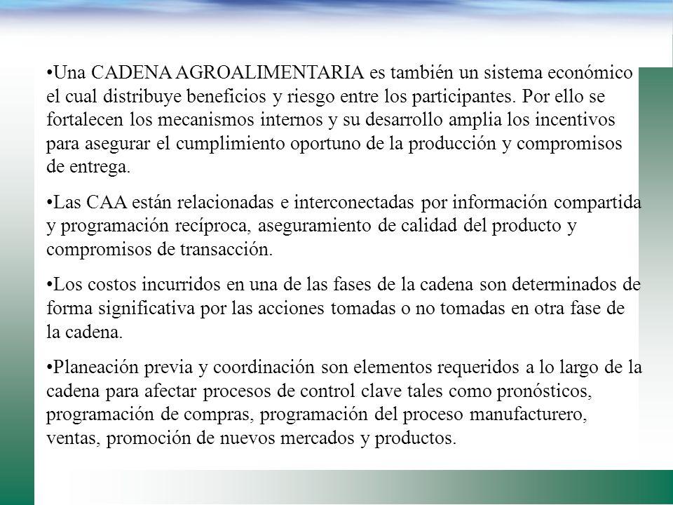 Una CADENA AGROALIMENTARIA es también un sistema económico el cual distribuye beneficios y riesgo entre los participantes. Por ello se fortalecen los mecanismos internos y su desarrollo amplia los incentivos para asegurar el cumplimiento oportuno de la producción y compromisos de entrega.