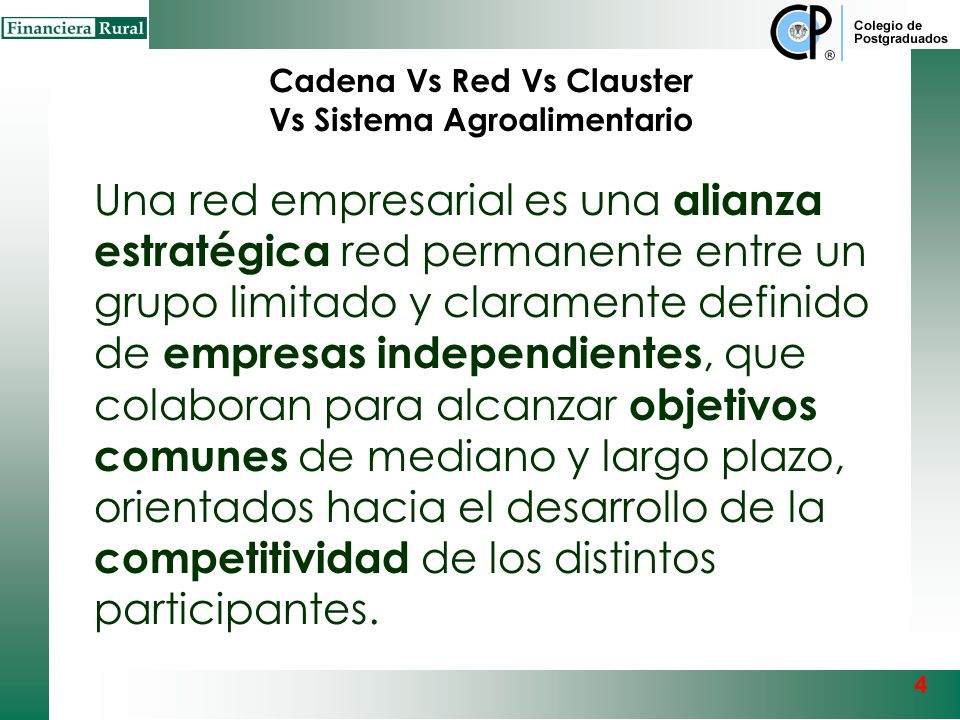 Cadena Vs Red Vs Clauster Vs Sistema Agroalimentario