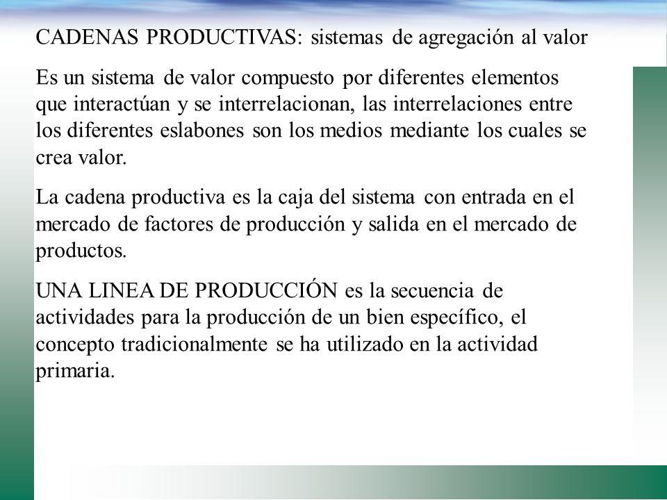 CADENAS PRODUCTIVAS: sistemas de agregación al valor