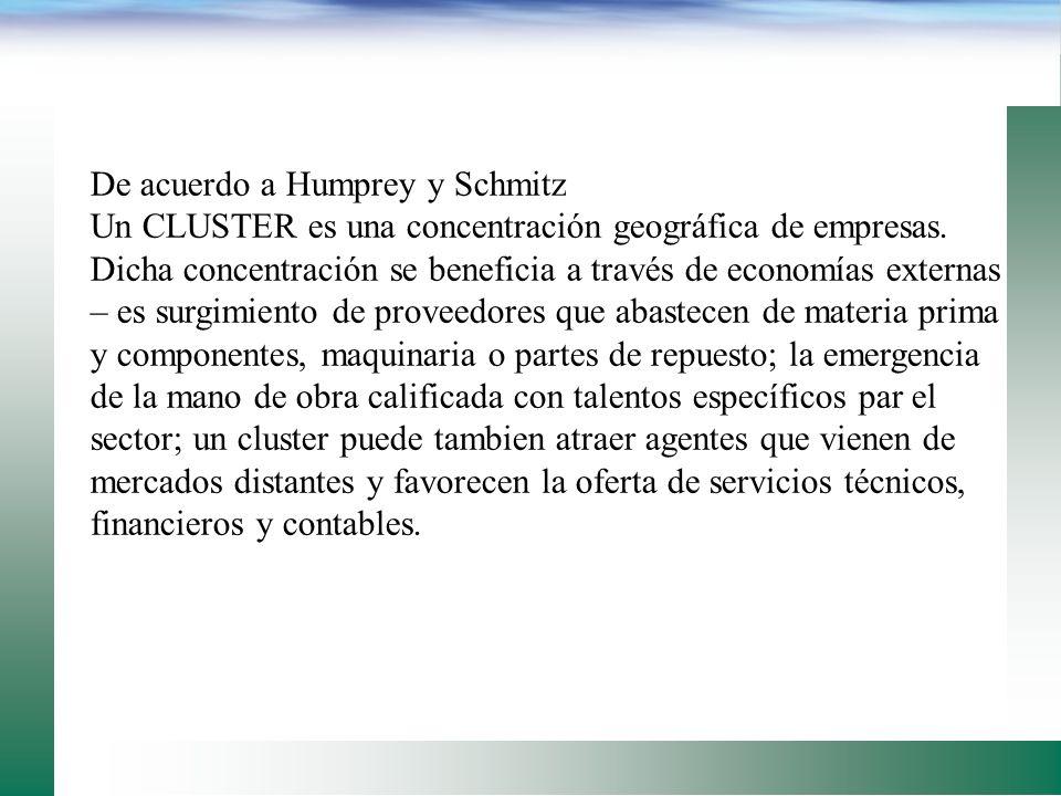 De acuerdo a Humprey y Schmitz