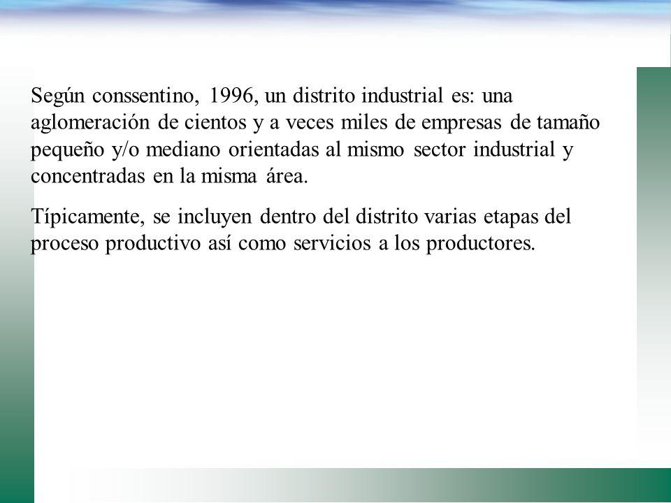 Según conssentino, 1996, un distrito industrial es: una aglomeración de cientos y a veces miles de empresas de tamaño pequeño y/o mediano orientadas al mismo sector industrial y concentradas en la misma área.