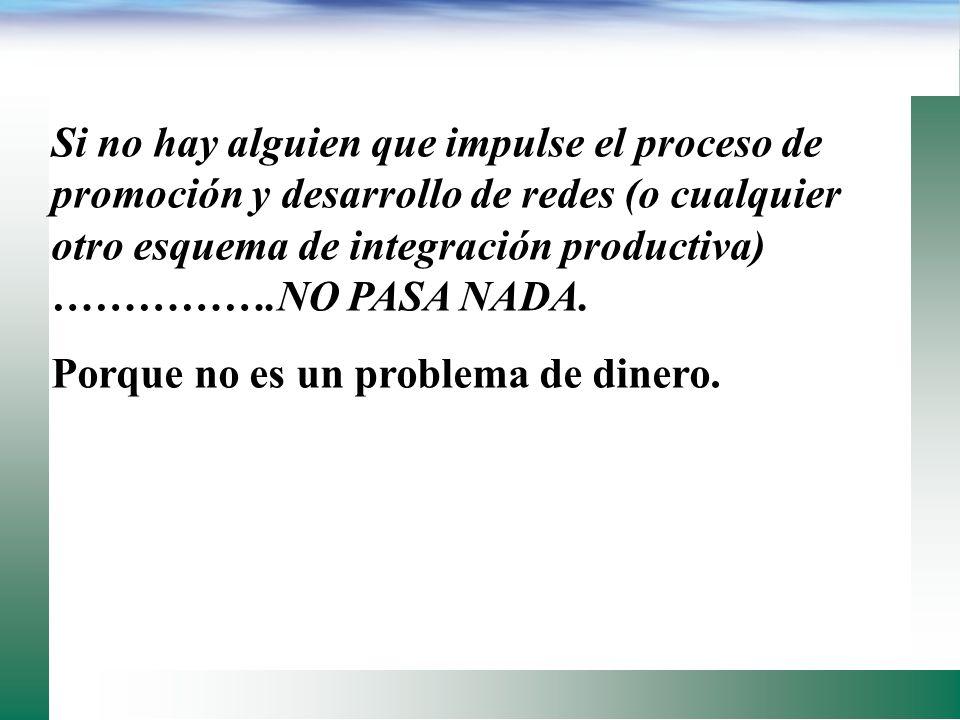 Si no hay alguien que impulse el proceso de promoción y desarrollo de redes (o cualquier otro esquema de integración productiva) …………….NO PASA NADA.