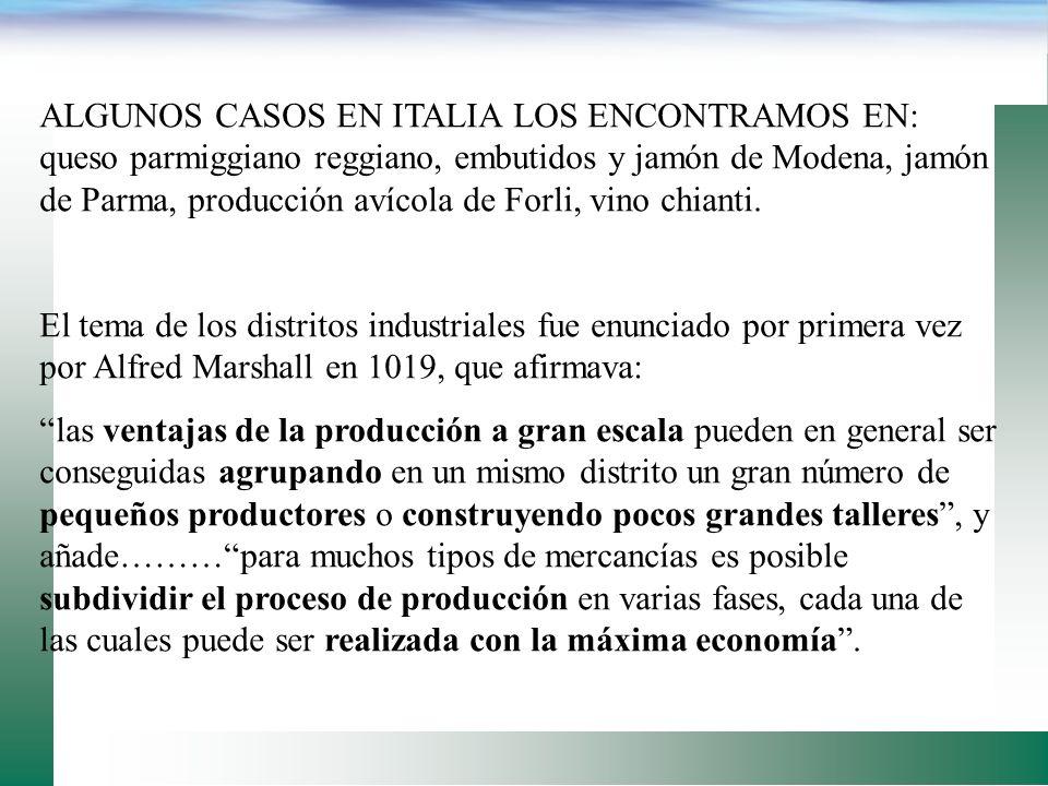 ALGUNOS CASOS EN ITALIA LOS ENCONTRAMOS EN: queso parmiggiano reggiano, embutidos y jamón de Modena, jamón de Parma, producción avícola de Forli, vino chianti.
