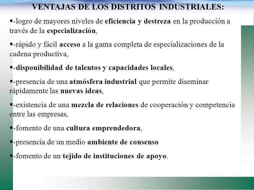 VENTAJAS DE LOS DISTRITOS INDUSTRIALES: