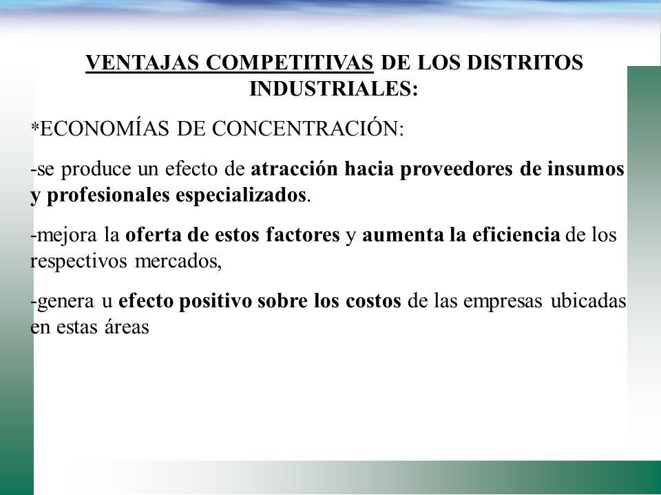 VENTAJAS COMPETITIVAS DE LOS DISTRITOS INDUSTRIALES:
