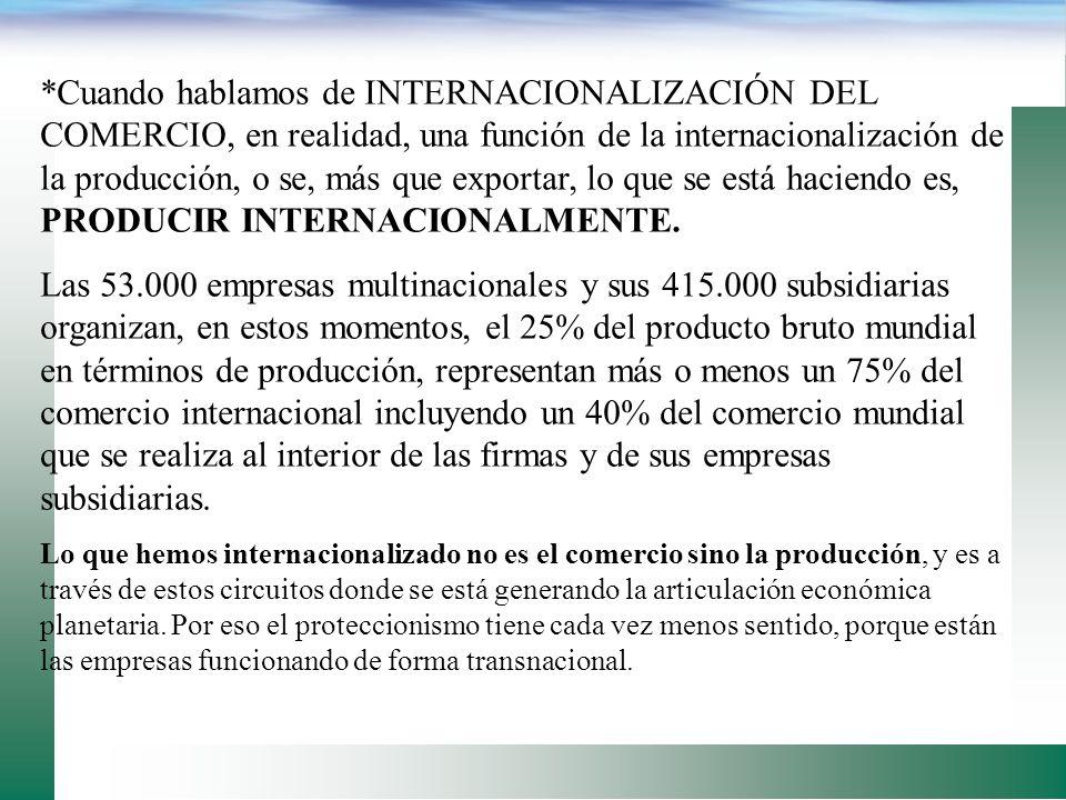 *Cuando hablamos de INTERNACIONALIZACIÓN DEL COMERCIO, en realidad, una función de la internacionalización de la producción, o se, más que exportar, lo que se está haciendo es, PRODUCIR INTERNACIONALMENTE.
