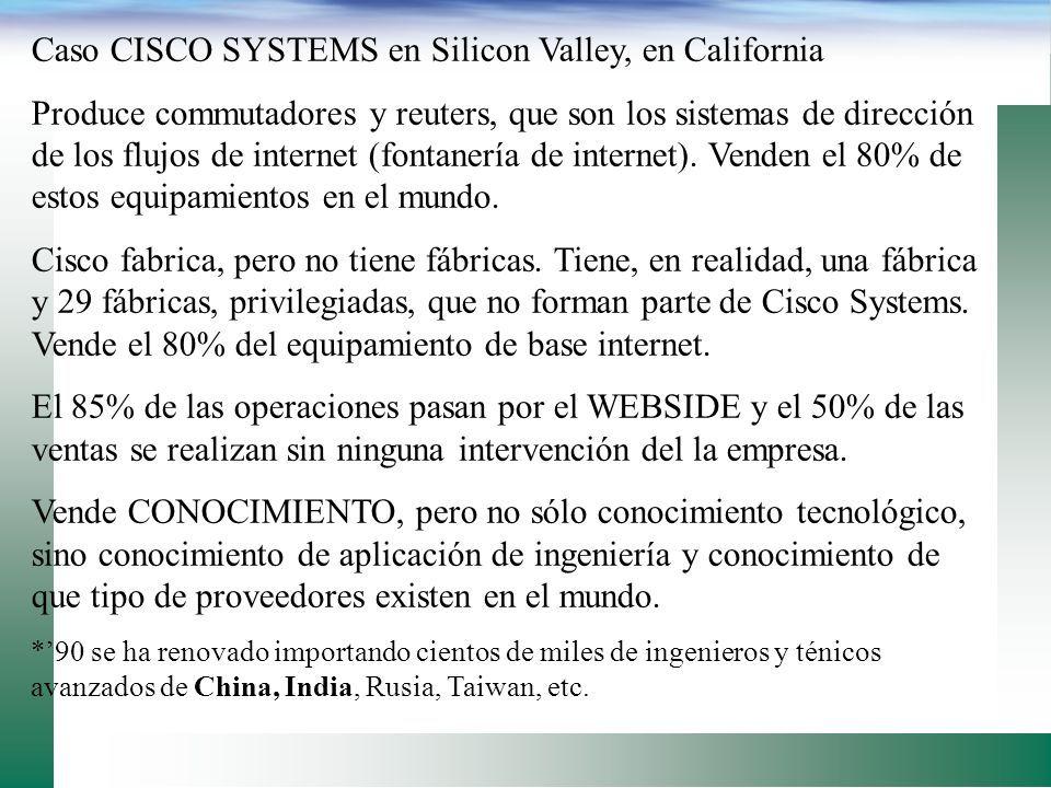 Caso CISCO SYSTEMS en Silicon Valley, en California