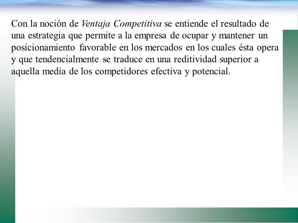 Con la noción de Ventaja Competitiva se entiende el resultado de una estrategia que permite a la empresa de ocupar y mantener un posicionamiento favorable en los mercados en los cuales ésta opera y que tendencialmente se traduce en una reditividad superior a aquella media de los competidores efectiva y potencial.