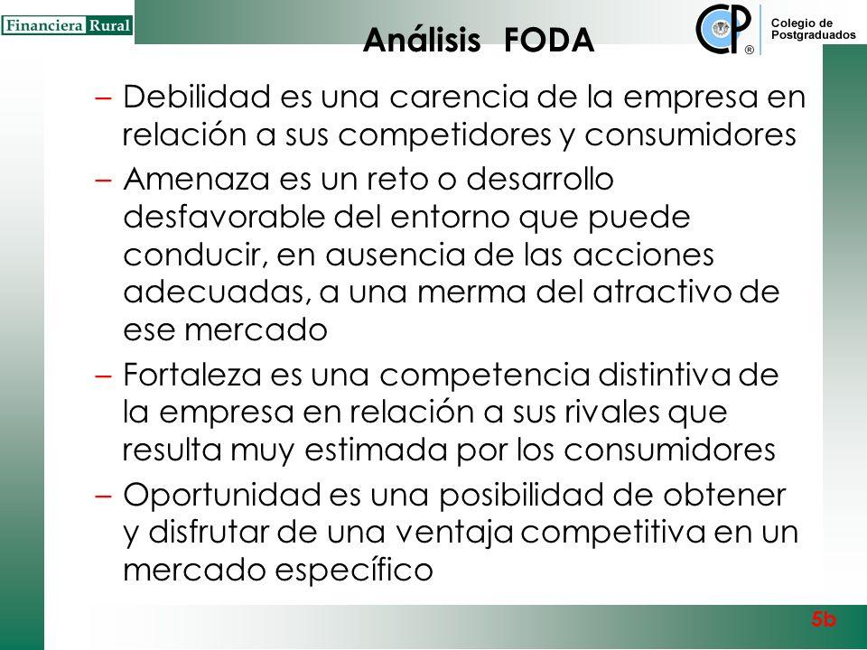 Análisis FODA Debilidad es una carencia de la empresa en relación a sus competidores y consumidores.