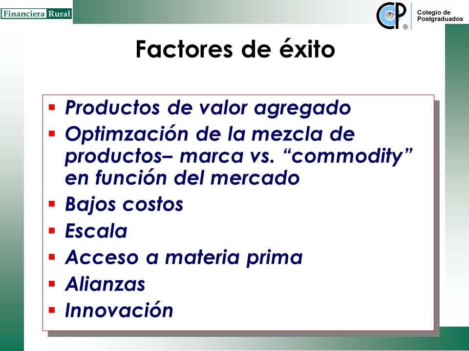 Factores de éxito Productos de valor agregado