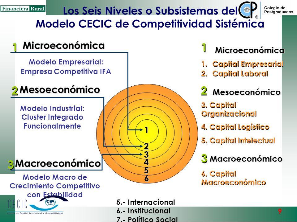 Los Seis Niveles o Subsistemas del Modelo CECIC de Competitividad Sistémica