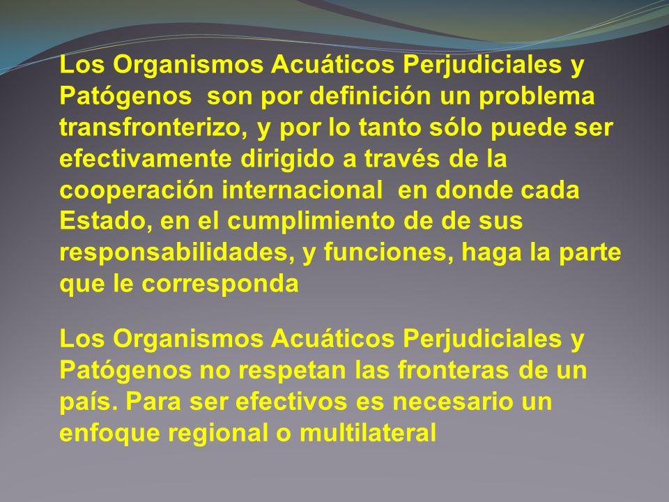 Los Organismos Acuáticos Perjudiciales y Patógenos son por definición un problema transfronterizo, y por lo tanto sólo puede ser efectivamente dirigido a través de la cooperación internacional en donde cada Estado, en el cumplimiento de de sus responsabilidades, y funciones, haga la parte que le corresponda