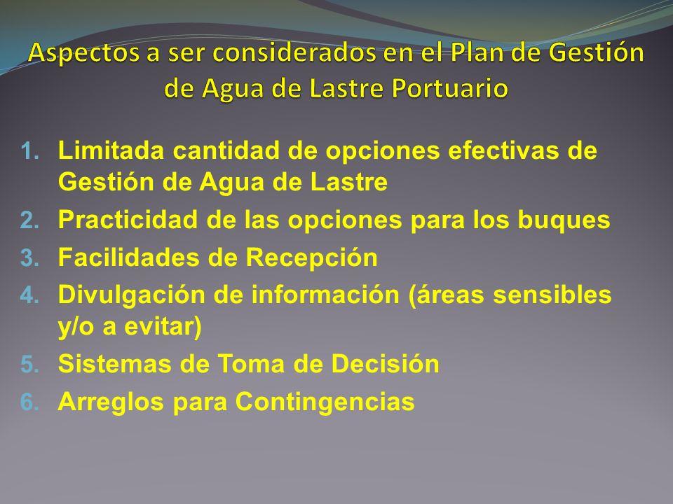 Aspectos a ser considerados en el Plan de Gestión de Agua de Lastre Portuario