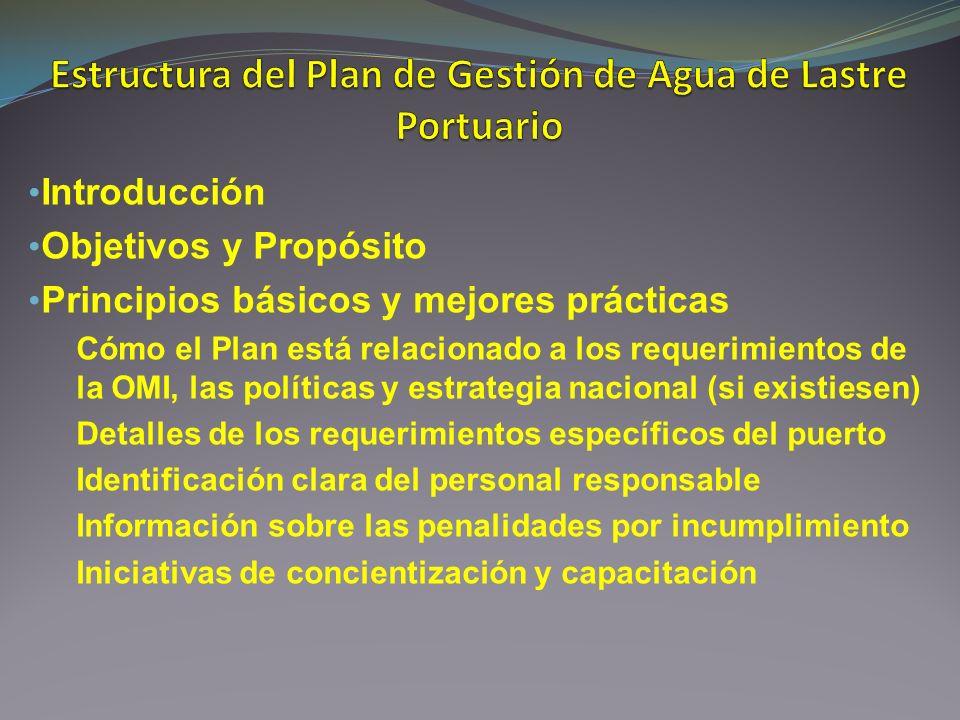 Estructura del Plan de Gestión de Agua de Lastre Portuario
