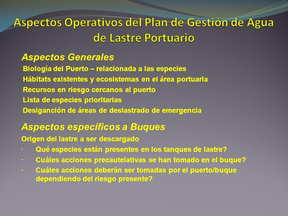 Aspectos Operativos del Plan de Gestión de Agua de Lastre Portuario