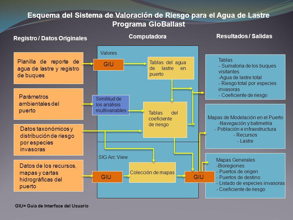 Esquema del Sistema de Valoración de Riesgo para el Agua de Lastre