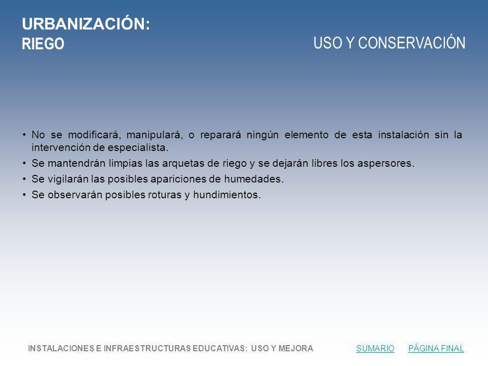 URBANIZACIÓN: RIEGO USO Y CONSERVACIÓN