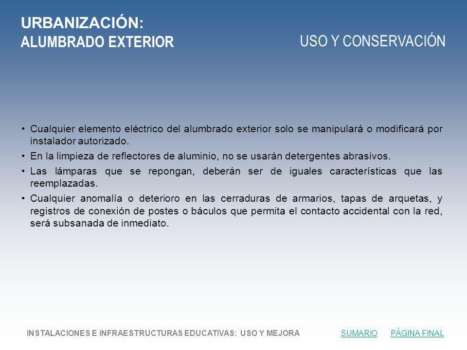 URBANIZACIÓN: ALUMBRADO EXTERIOR
