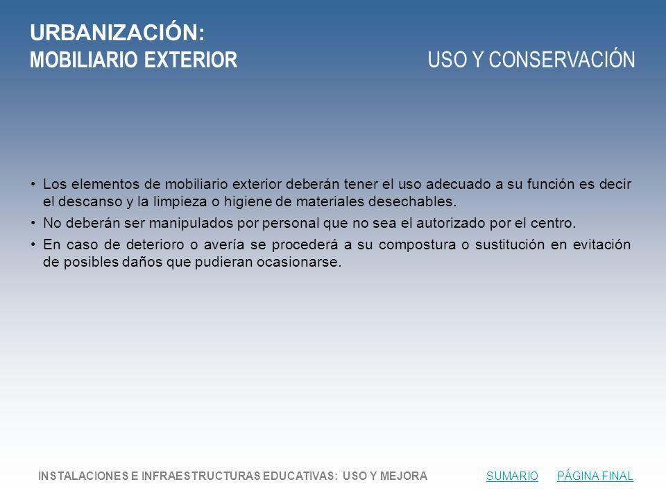 URBANIZACIÓN: MOBILIARIO EXTERIOR