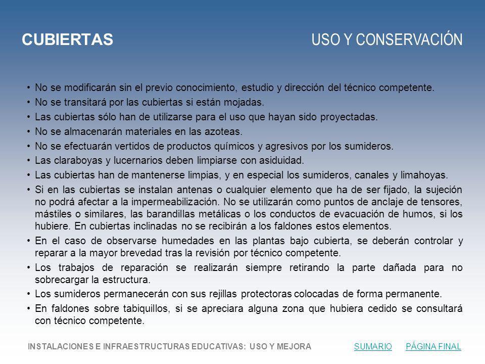 CUBIERTAS USO Y CONSERVACIÓN