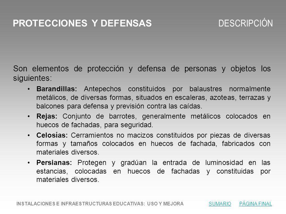 PROTECCIONES Y DEFENSAS