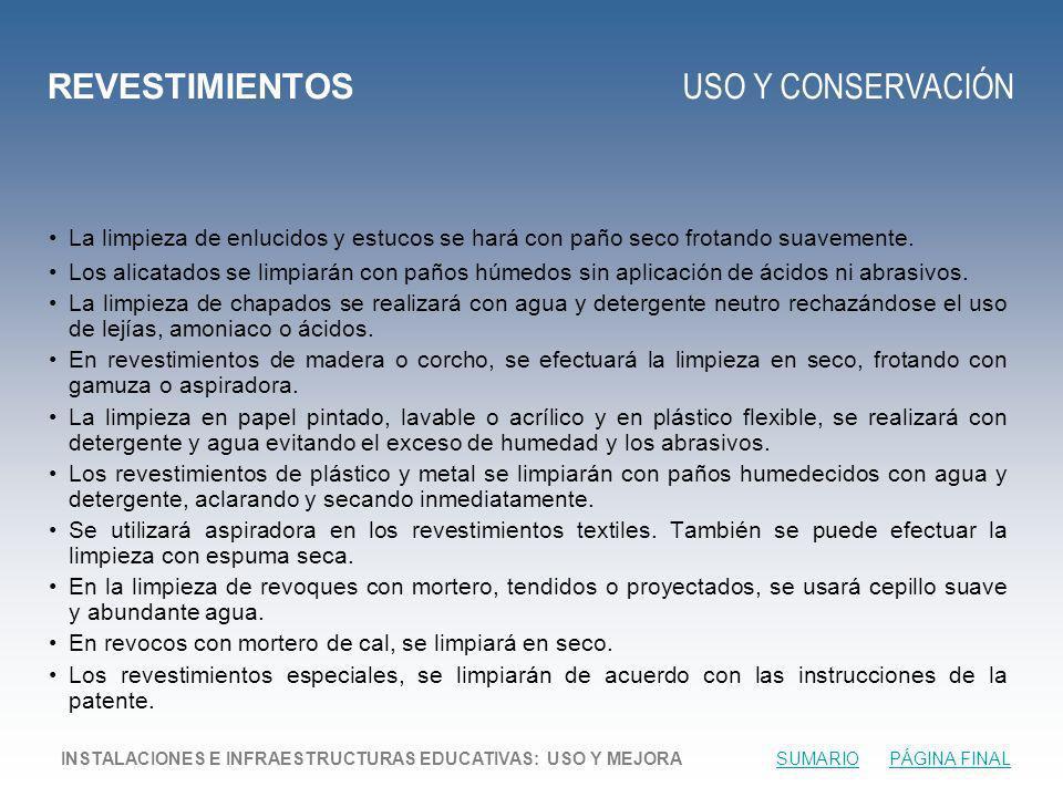 REVESTIMIENTOS USO Y CONSERVACIÓN