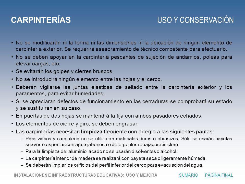 CARPINTERÍAS USO Y CONSERVACIÓN