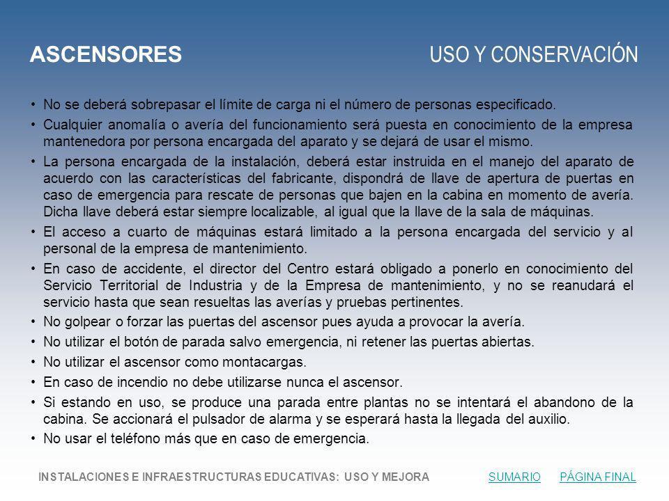 ASCENSORES USO Y CONSERVACIÓN